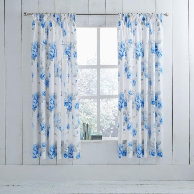 Charlotte Thomas 1 Pair Chloe Floral Pencil Pleat Curtains Blue Dyed Polycotton 144 Thread Count