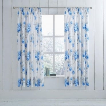 1 Pair Chloe Floral Pencil Pleat Curtains Blue Dyed Polycotton 144 Thread Count
