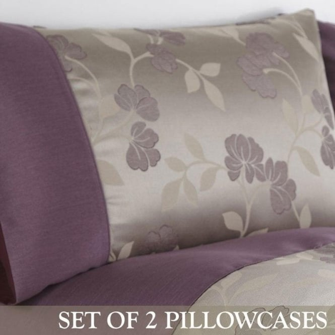 Charlotte Thomas 1 Pair Francesca Housewife Pillowcases Plum - Jacquard/Polycotton