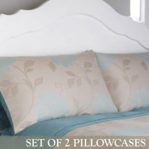 1 Pair Isabella Housewife Pillowcases in Duck Egg Blue Jacquard Polycotton