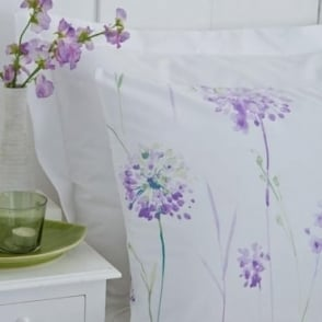 1 Pair Kendall Floral Housewife Pillowcases Lilac Polycotton 144 Thread Count