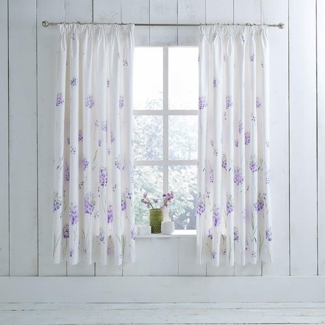1 Pair Kendall Floral Pencil Pleat Curtains Lilac Poly Cotton 144 Thread Count