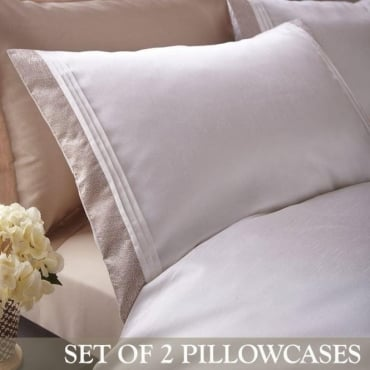 1 Pair Lucia Housewife Pillowcases in Ivory Jacquard/Polycotton