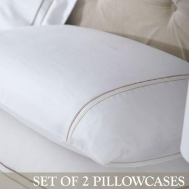 1 Pair Mayfair Housewife Pillowcases White, Gold/Brown 100% Cotton Percale 200 Thread Count