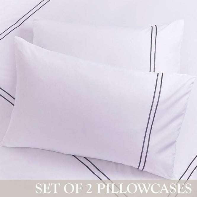Charlotte Thomas 1 Pair Mayfair Housewife Pillowcases White & Slate Grey 100% Cotton Percale 200 Thread Count