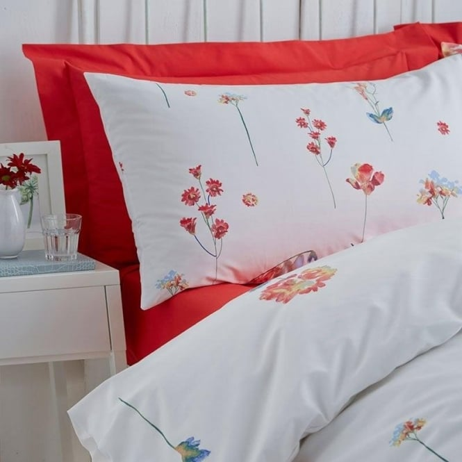 Charlotte Thomas 1 Pair Serenity Floral Housewife Pillowcases Terracotta Polycotton 144 Thread Count