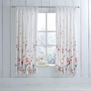 1 Pair Serenity Floral Pencil Pleat Curtains Terracotta Poly Cotton 144 Thread Count