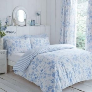 Amelie Toile Duvet Cover Set - Blue Polycotton 144 Thread Count