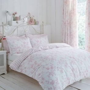 Amelie Toile Duvet Cover Set - Pink Polycotton 144 Thread Count
