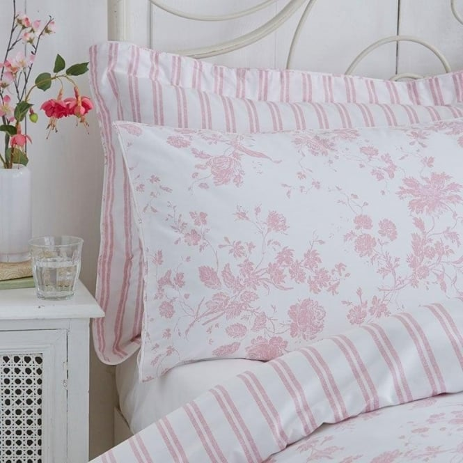 Amelie Toile Duvet Cover Set Pink Polycotton 144 Thread Count