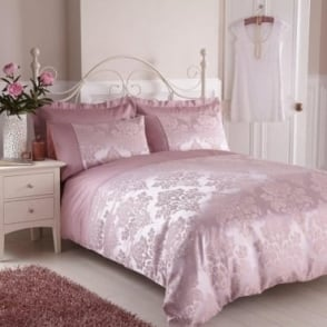 Anastasia Duvet Cover Set - Dark Pink Jacquard/Poly Cotton