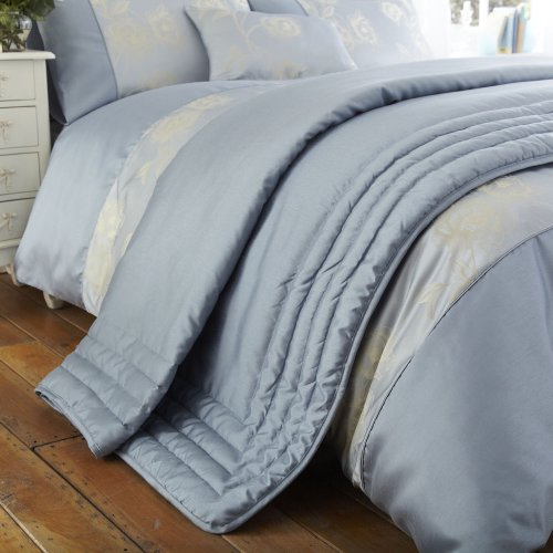 Charlotte Thomas Francesca Quilted Bed Throw In Plum: Charlotte Thomas Antonia Bed Throw In Duck Egg Blue