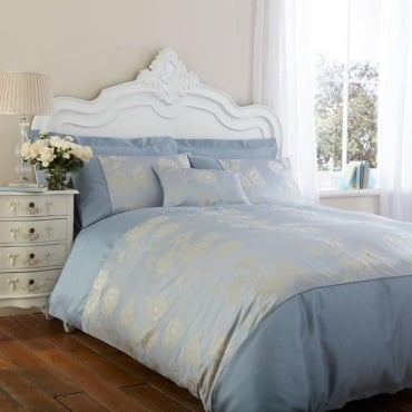 Antonia Duvet Cover Set - Duck Egg Blue Jacquard/Poly Cotton