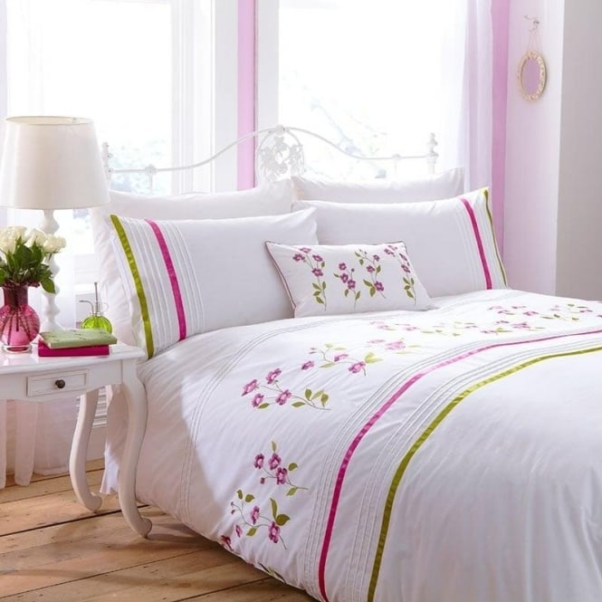 Charlotte Thomas Arabella Duvet Cover Set - Cerise Pink & Olive Green Percale Polycotton 180 Thread Count