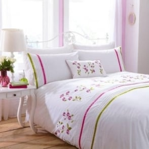 Arabella Duvet Cover Set - Cerise Pink & Olive Green Percale Polycotton 180 Thread Count