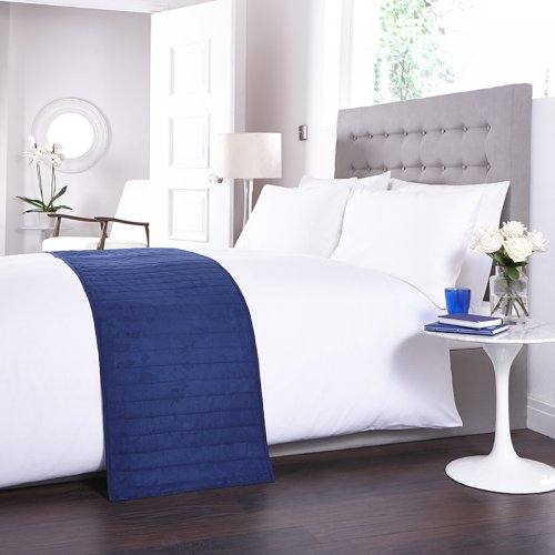 283 Best Images About Fabric Bed Headboards On Pinterest: Bed Runner In Navy Blue
