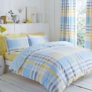 Camden Check Duvet Cover Set - Blue Polycotton 144 Thread Count