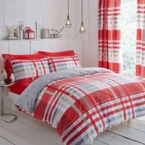 Camden Check Duvet Cover Set - Red Polycotton 144 Thread Count