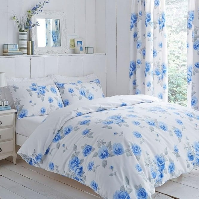 Charlotte Thomas Chloe Floral Duvet Cover Set - Blue Poly Cotton 144T Thread Count