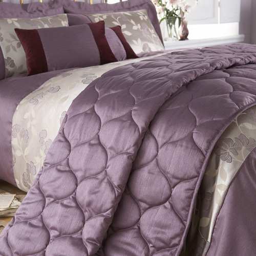 Charlotte Thomas Francesca Quilted Bed Throw In Plum: Luxury Duvet Cover In Purple And Faux Silk