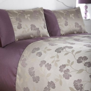 Francesca Duvet Cover Set - Plum Jacquard/Poly Cotton