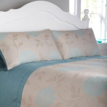 Isabella Duvet Cover Set - Duck Egg Blue Jacquard/Polycotton