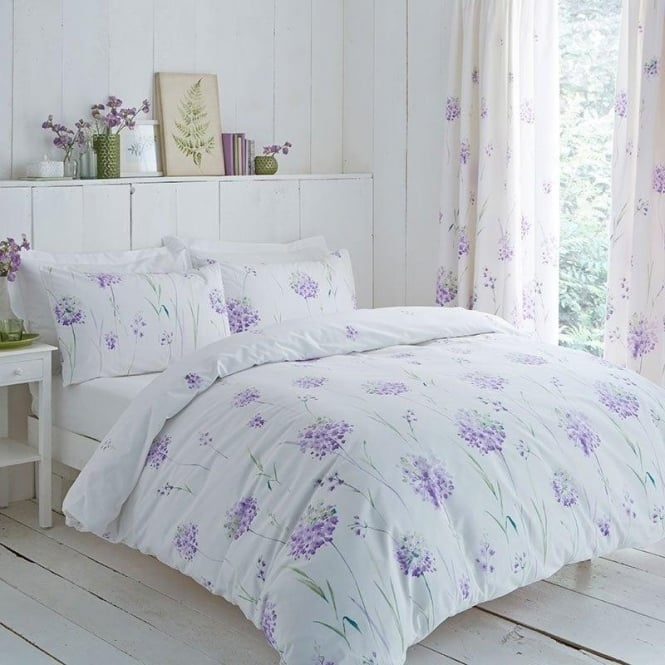 Charlotte Thomas Kendall Floral Duvet Cover Set - Lilac Polycotton 144 Thread Count