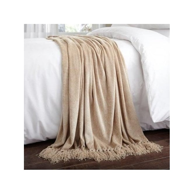 Charlotte Thomas Luxury Chenille Throw in Beige