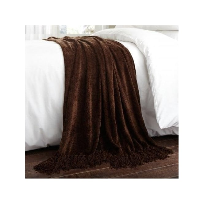 Charlotte Thomas Luxury Chenille Throw in Brown