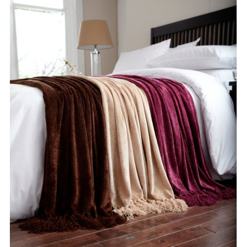 Charlotte Thomas Chenille Throw In Brown