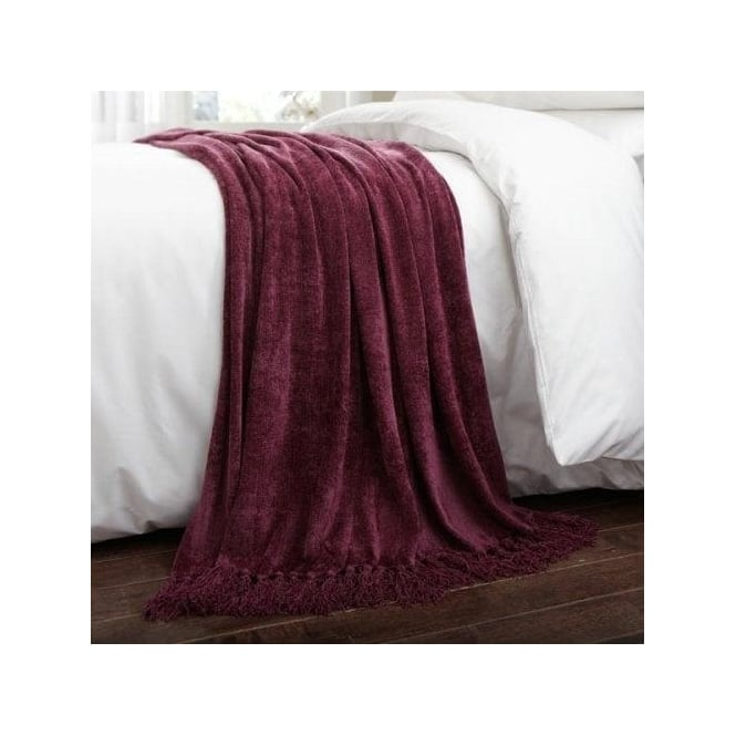 Charlotte Thomas Luxury Chenille Throw in Plum