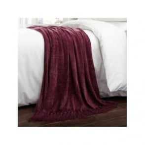Luxury Chenille Throw in Plum