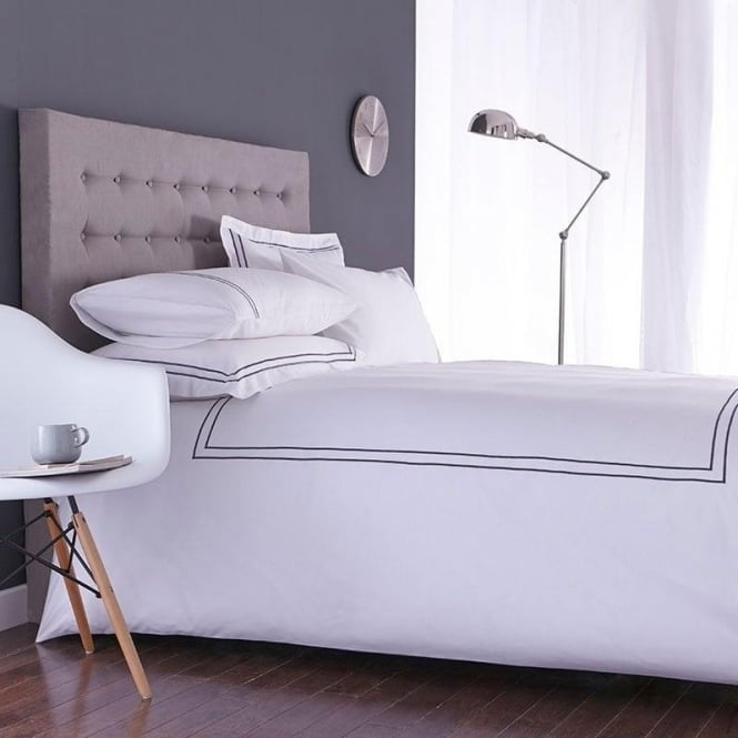 Charlotte Thomas Mayfair Duvet Cover Set - White & Slate Grey 100% Cotton Percale 200 Thread Count