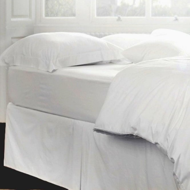 Polycotton Percale Fitted Valanced Sheets White Single Bed