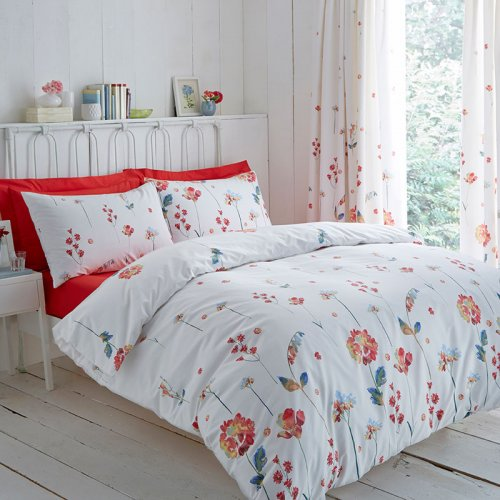 Terracotta Bedroom Designs: Red Floral Design Duvet Cover Set