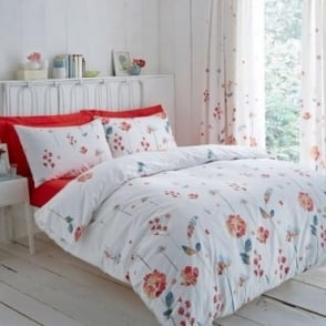 Serenity Floral Duvet Cover Set Terracotta Poly Cotton 144 Thread Count