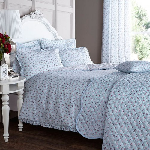 Catherine Lansfield Ditsy Eyelet Curtains In Duck Egg Blue