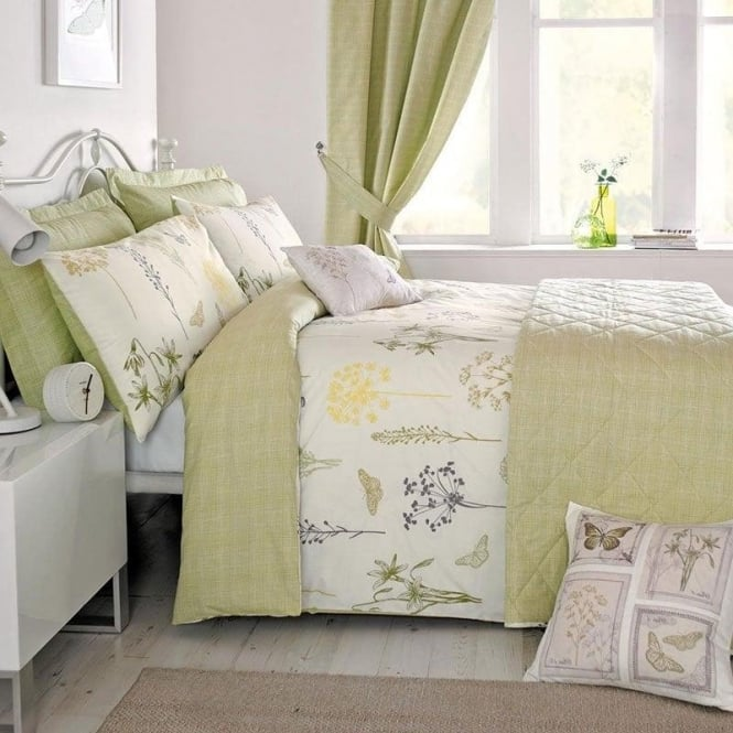 "Green & Yellow ""Botanique"" Floral Duvet Cover Set"