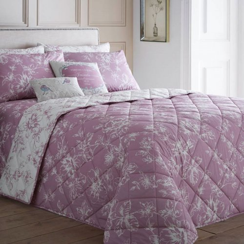 "Charlotte Thomas Francesca Quilted Bed Throw In Plum: Dreams & Drapes ""Chepstow"