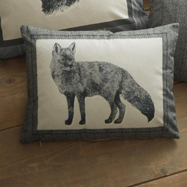 Connolly Check Rectangular Cushion in Charcoal Grey