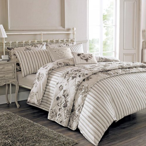Charlotte Thomas Francesca Quilted Bed Throw In Plum: Floral & Stripe Bed Throw In Grey