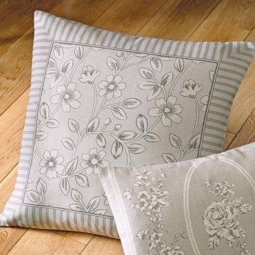 Malton Floral and Stripe Square Cushion in Slate Grey