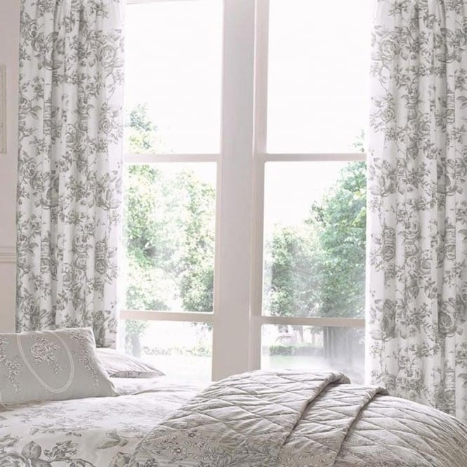 Dreams & Drapes Malton Floral Pencil Pleat Curtains in Slate Grey