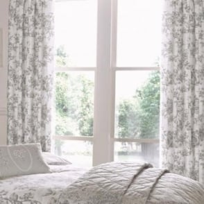 Malton Floral Pencil Pleat Curtains in Slate Grey