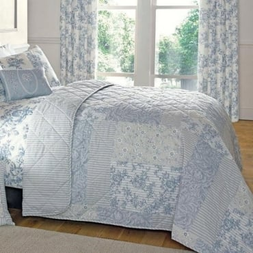 Malton Patchwork & Floral Bed Throw in Blue