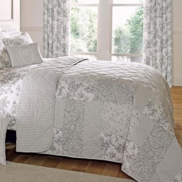 Malton Patchwork & Floral Bed Throw in Slate Grey