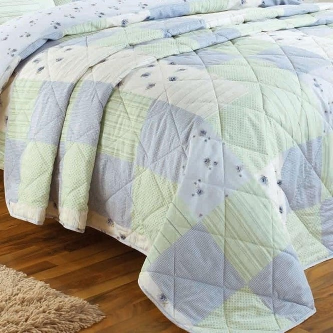 Dreams & Drapes Patchwork Bedspread in Blue