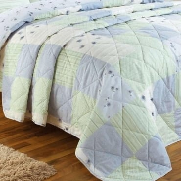 Patchwork Bedspread in Blue