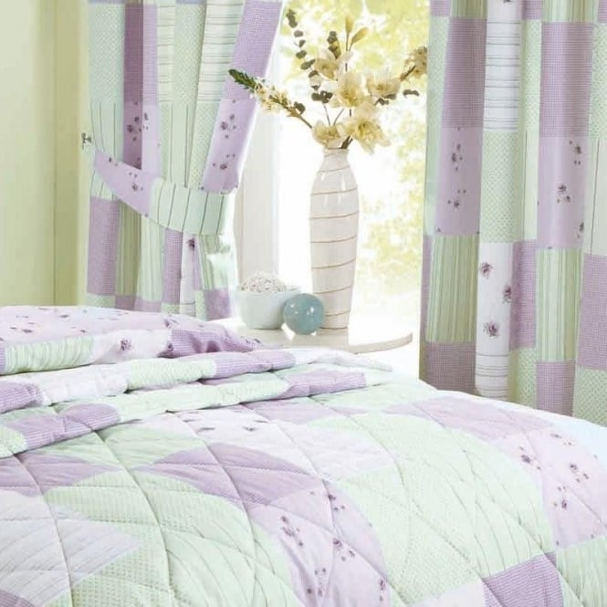 Patchwork Pencil Pleat Curtains In Lilac