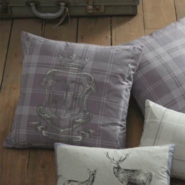 Tatton Patchwork Square Cushion in Heather